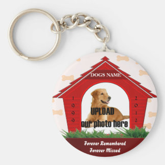 Red Dog House Pet Memorial Keychain