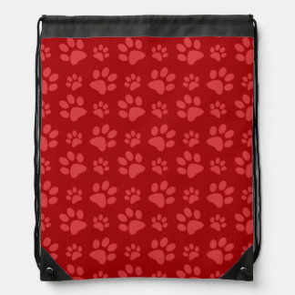 Red dog paw print pattern backpack