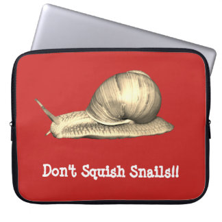 Red Don't Squish Snails Design Laptop Sleeve