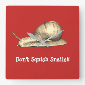 Red Don't Squish Snails Design Square Wall Clock