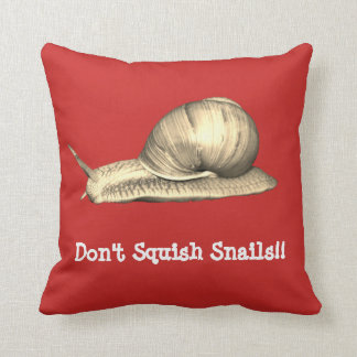 Red Don't Squish Snails Design Throw Pillow