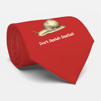Red Don't Squish Snails Design Tie