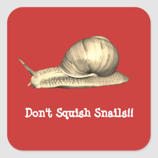Red Don't Squish Snails Square Sticker