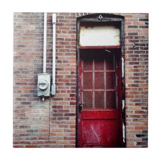 Red Door in a Back Alley Ceramic Tiles