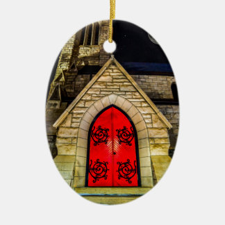Red Door to Church with Moon Ceramic Ornament
