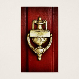Red Door With Antique Brass Knocker Business Card
