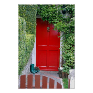 Red Door with Boots Poster