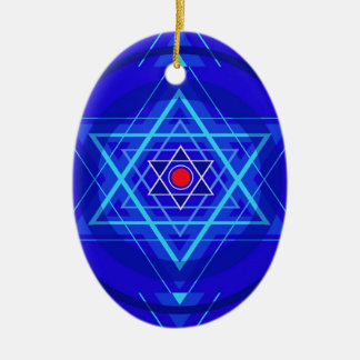 Red dot and the bluish Jewish Stars. Ceramic Oval Ornament