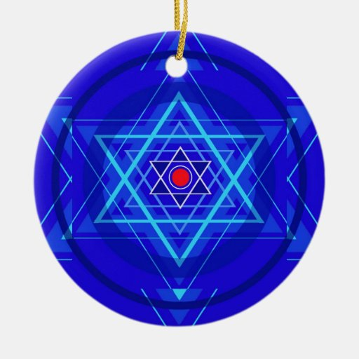 Red dot and the bluish Jewish Stars. Christmas Tree Ornaments