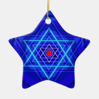 Red dot and the bluish Jewish Stars. Christmas Ornaments
