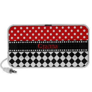 Red Dot Checkerboard iPhone Speakers