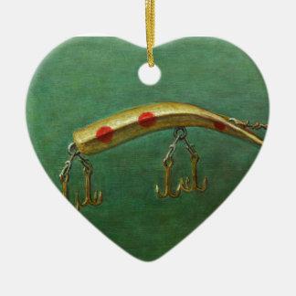 Red Dot Fishing Lure Ceramic Ornament