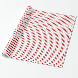 Red Dot Pattern on White Gift Wrapping Paper
