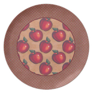 Red Dots Border Red Apples Brown Plate