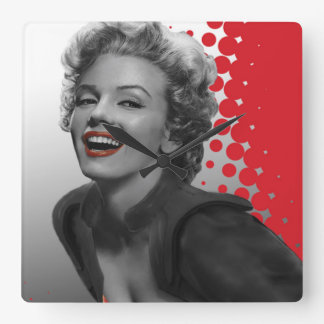 Red Dots Marilyn Square Wall Clock