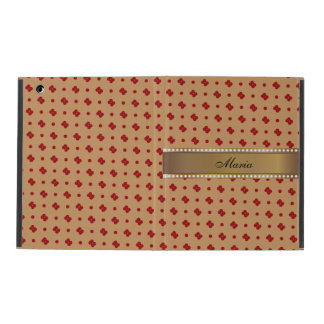 Red Dots Pattern Gold Personalized Name iPad Case