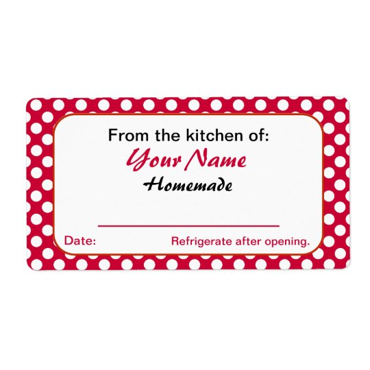 Red Dots Personalized From the Kitchen Of Labels