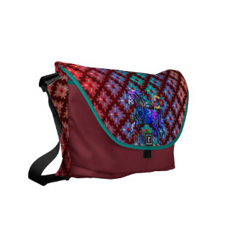 Red Dots Spinning Sensation with Geo Pattern Horse Courier Bag