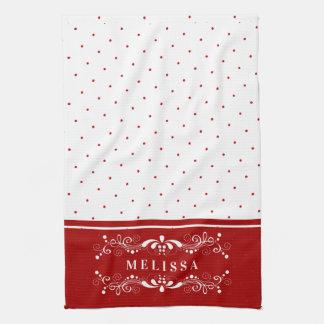 Red Dots & Vintage Floral Swirls Frame Monogram Kitchen Towel