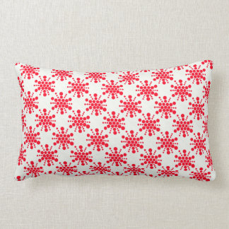 Red dotted stamped star design lumbar pillow