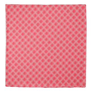 Red dotted stamped stars design on pink duvet cover