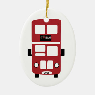 Red double decker bus custom ornament