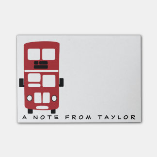 Red double decker bus custom post-it notepad