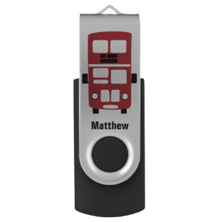 Red double decker bus custom USB drive