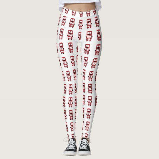 Red double decker bus design leggings
