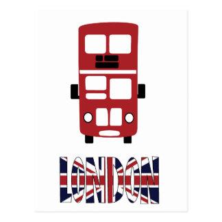 Red double decker bus London postcard