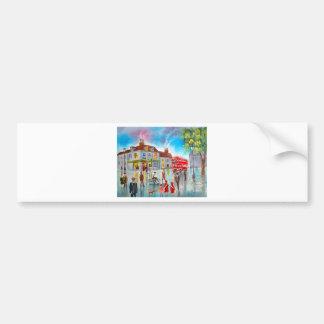 Red double decker bus street scene painting bumper sticker
