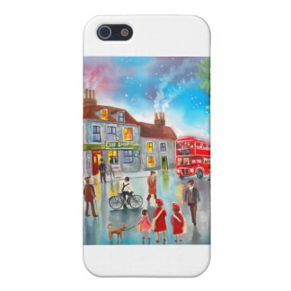 Red double decker bus street scene painting iPhone 5/5S case