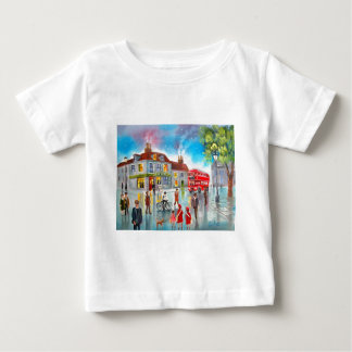 Red double decker bus street scene painting t shirt