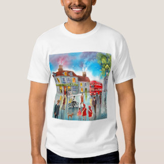 Red double decker bus street scene painting tee shirts