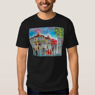 Red double decker bus street scene painting tees
