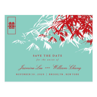 Red Double Happiness Bamboo Save The Date Postcard