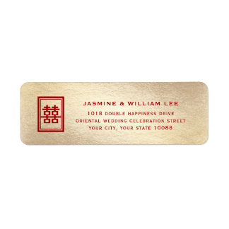 Red Double Happiness Chinese Wedding Address Label