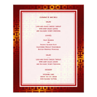 Red Double Happiness Chinese Wedding Menu Card