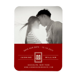 Red Double Happiness Chinese Wedding Save The Date Magnet