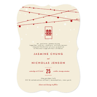Red Double Happiness Fairy Lights Chinese Wedding Card