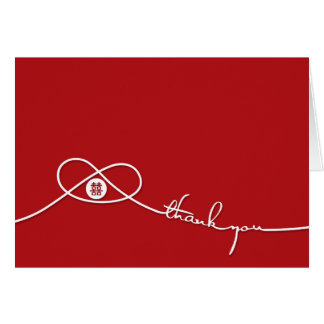 Red Double Happiness Knot Wedding Thank You Card