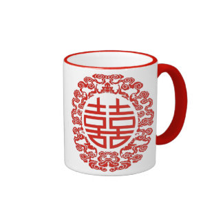 red double happiness modern chinese wedding favor mug