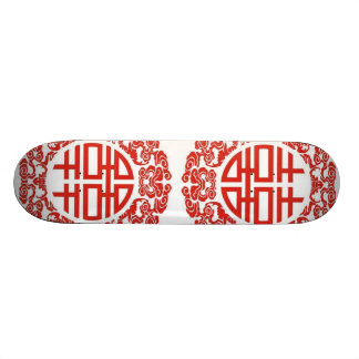 red double happiness modern chinese wedding skateboard deck