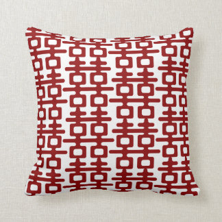 Red Double Happiness Pattern Chic Chinese Wedding Throw Pillow