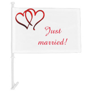 Red Double Heart Just Married Car Flag