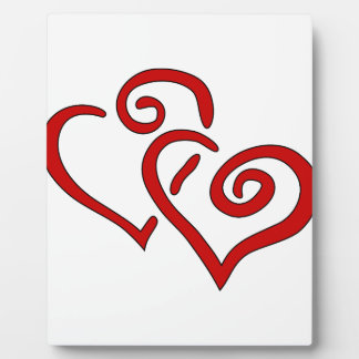 Red Double Heart Plaque