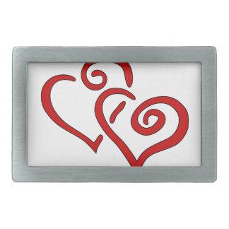 Red Double Heart Rectangular Belt Buckles