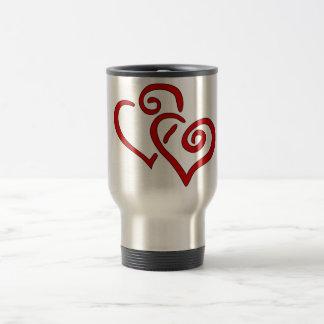 Red Double Heart Travel Mug