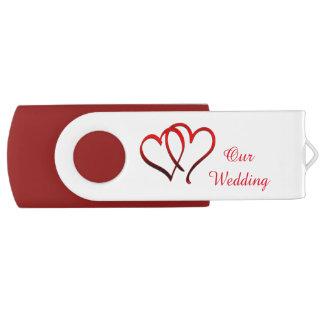 Red Double Heart Wedding USB Drive Swivel USB 2.0 Flash Drive