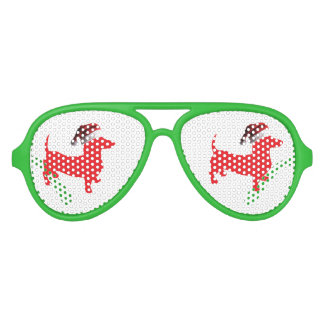 Red-Doxie---And-Santa-Hat Aviator Sunglasses